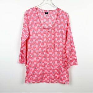 Mudpie | Cotton Coral Seahorse Print Dress